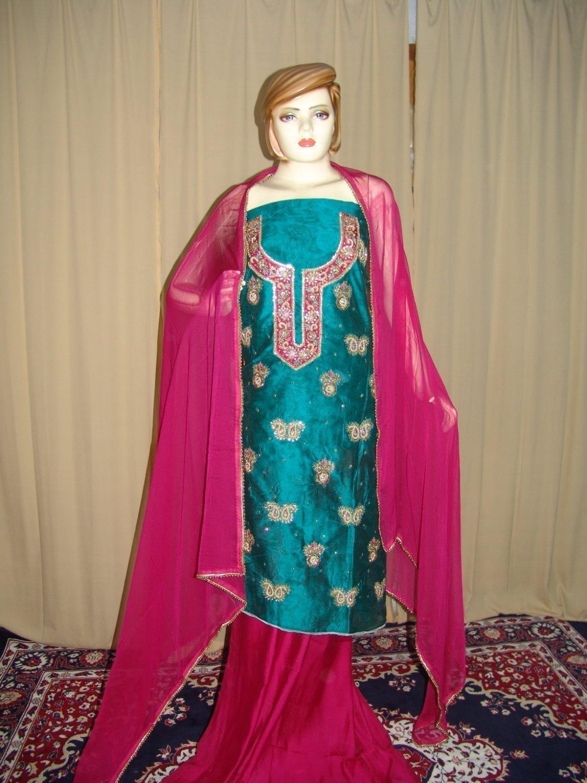 Maheshwari Cotton Hand Embroidered partywear Punjabi Suit H0033 1