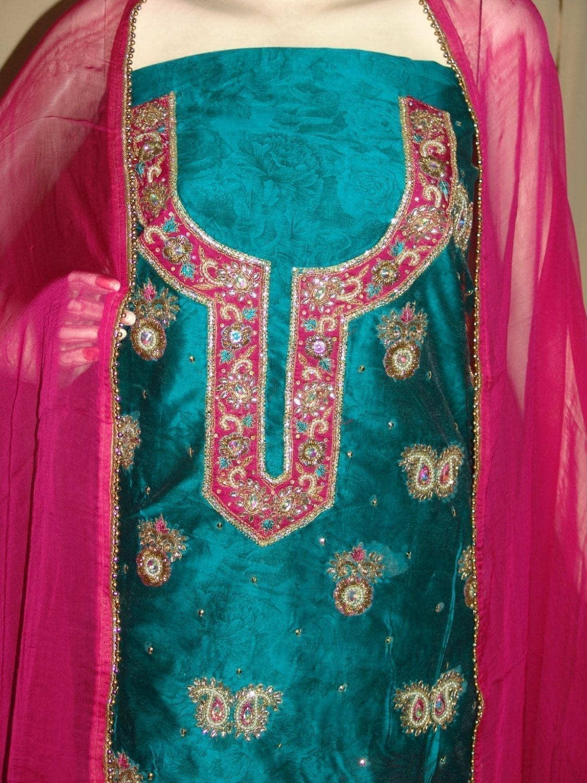 Maheshwari Cotton Hand Embroidered partywear Punjabi Suit H0033 2