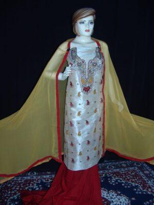 3D Khadi cotton Silk Hand Embr partywear Punjabi Suit H0056