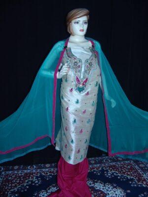 3D Khadi cotton Silk Hand Embroidered Punjabi Suit H0057