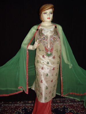 3D Khadi cotton Silk Hand Embroidered Panjabi Suit H0060