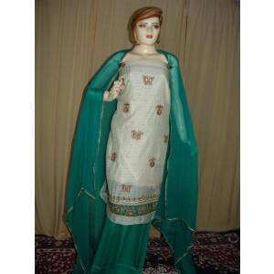 Partywear Cotton Suit Half Chiffon dupatta Luchnavi embr. H0072