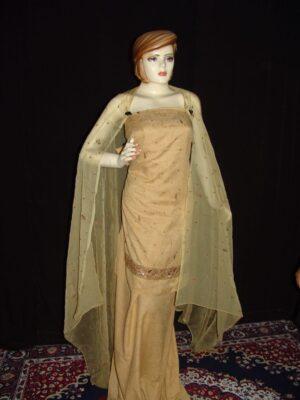 SENIOR CITIZEN cotton Suit Half Chiffon Lukhnavi embr. H0081