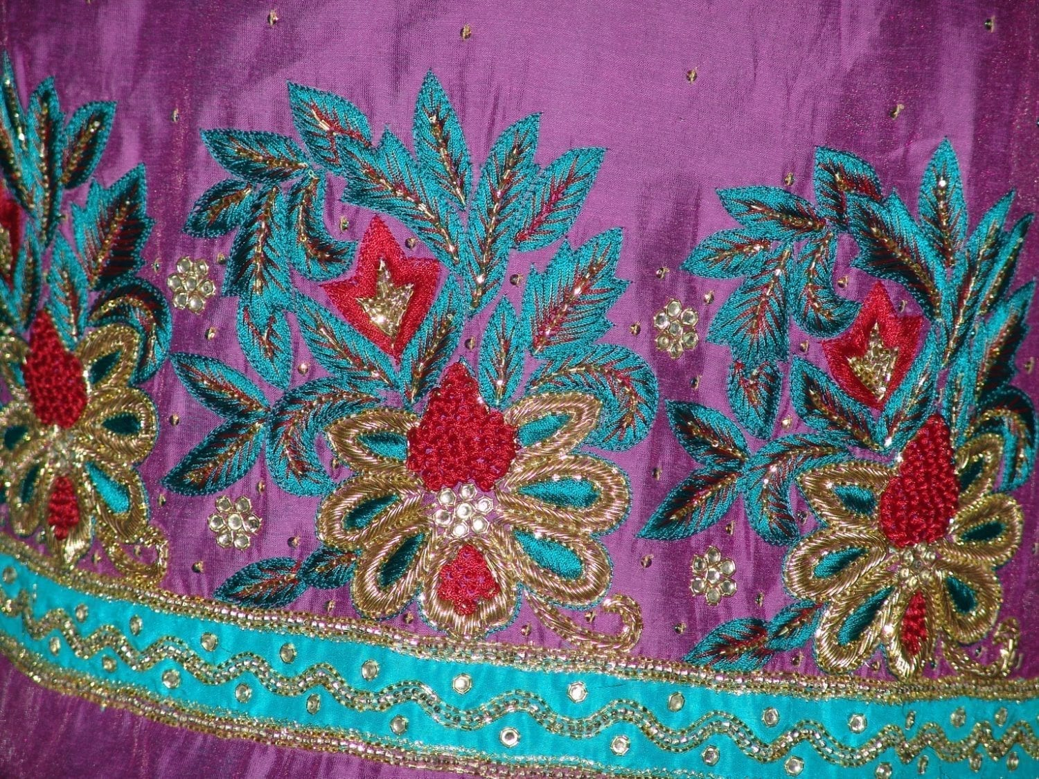 Partywear Silky Cotton Hand Embroidered Punjabi Suit H0087 3