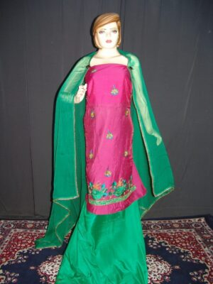 Partywear Silky Cotton Hand Embroidered Punjabi Suit H0088