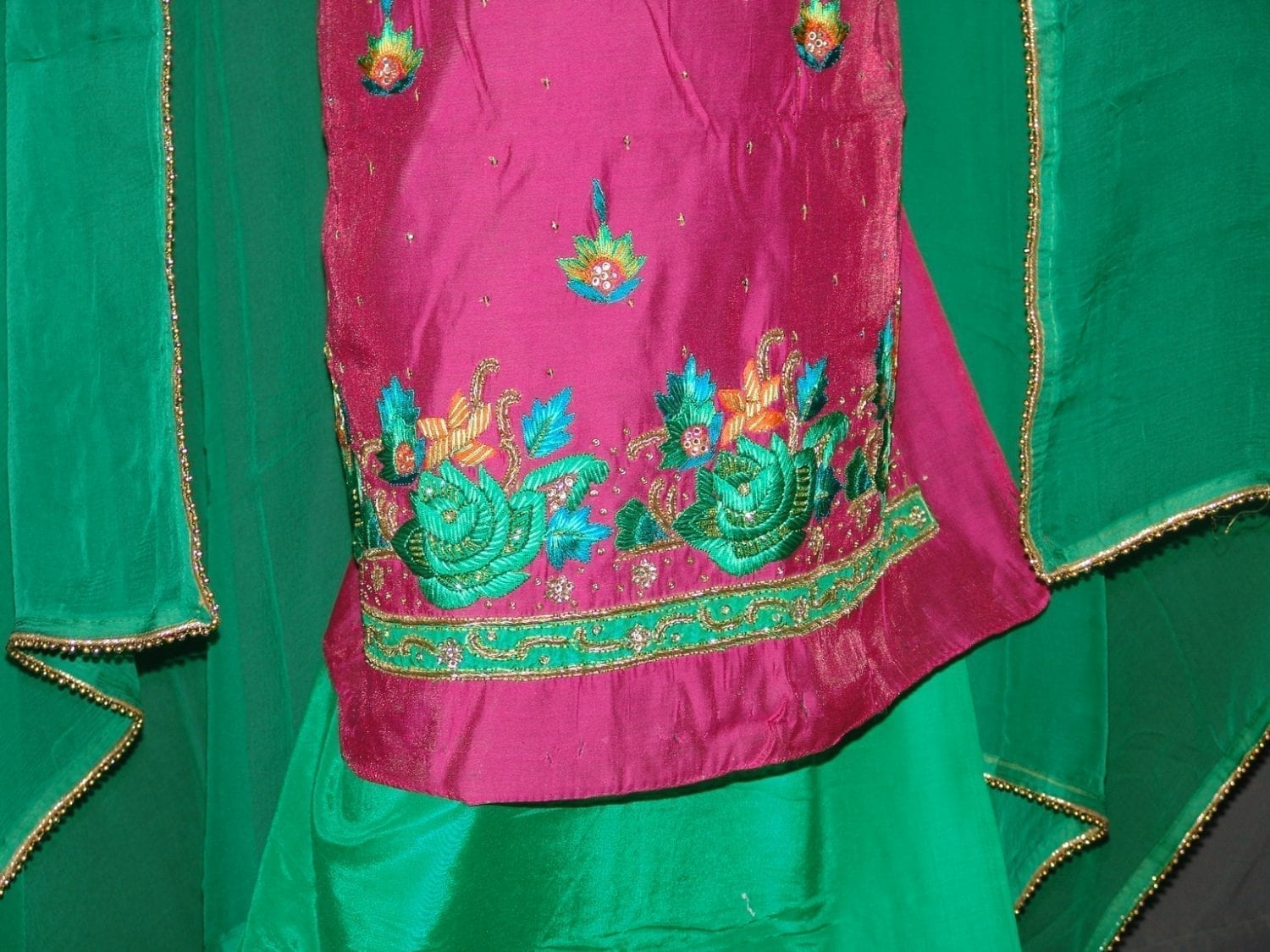 Partywear Silky Cotton Hand Embroidered Punjabi Suit H0088 2