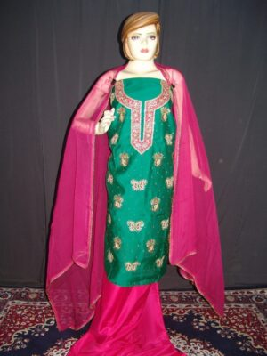 Partywear Silky Cotton Hand Embroidered Punjabi Suit H0089