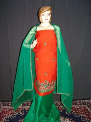 Partywear Cotton Hand Embroidered Punjabi Suit Dupatta set H0090