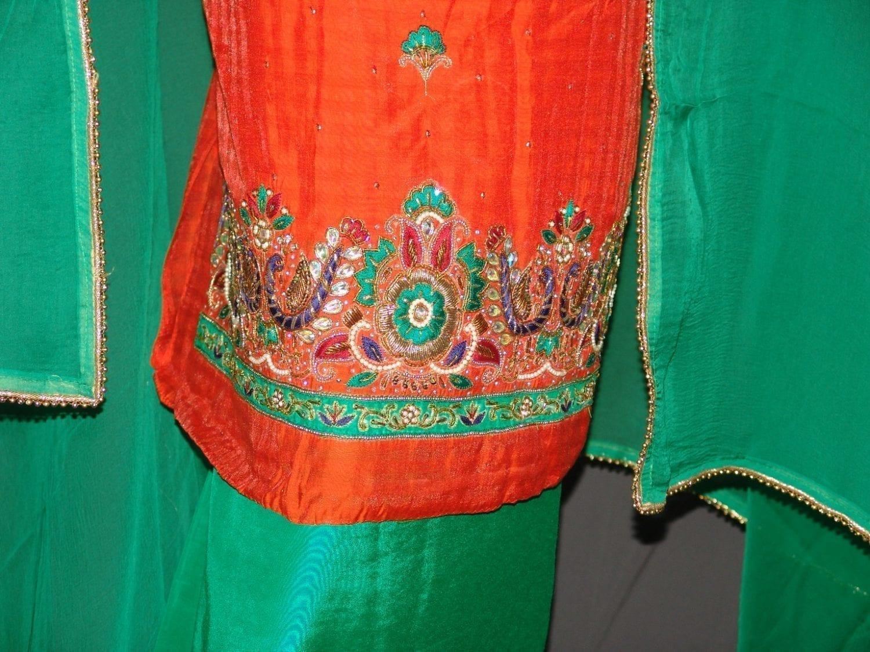 Partywear Cotton Hand Embroidered Punjabi Suit Dupatta set H0090 2