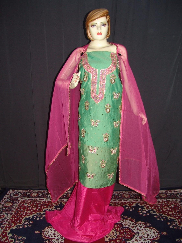 Partywear Cotton Hand Embroidered Punjabi Suit Dupatta set H0093 1