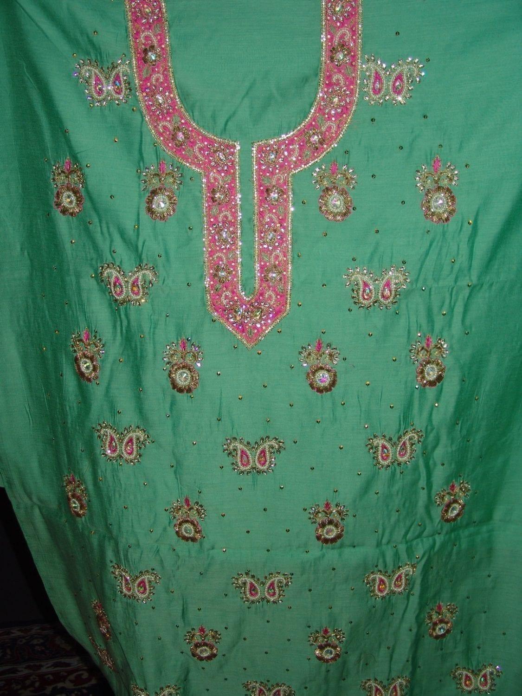 Partywear Cotton Hand Embroidered Punjabi Suit Dupatta set H0093 2