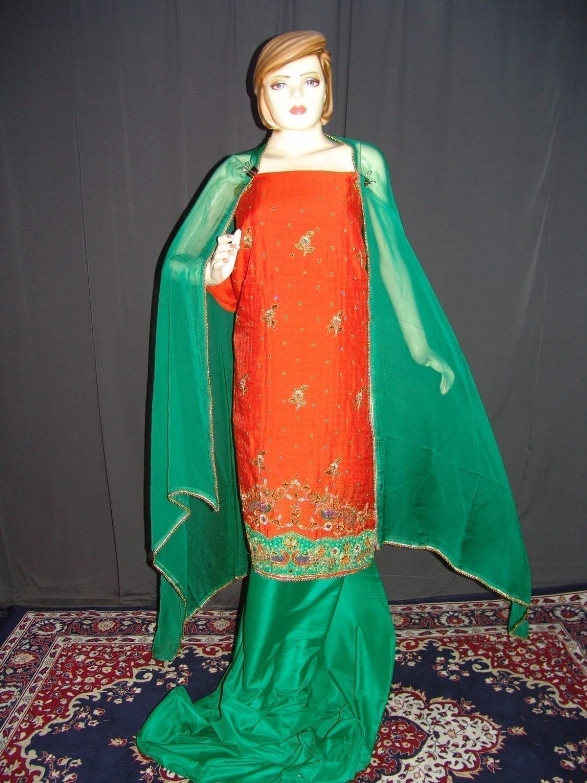 Partywear Cotton Hand Embroidered Punjabi Suit Dupatta set H0094 1