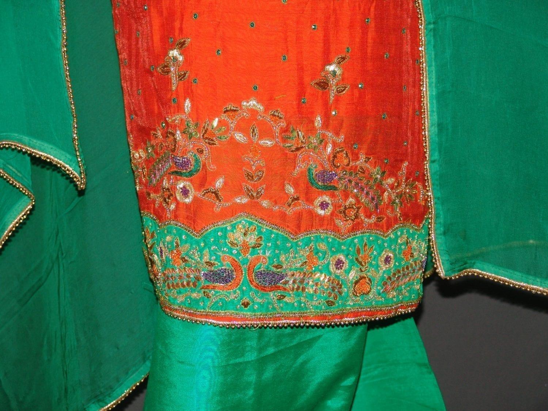 Partywear Cotton Hand Embroidered Punjabi Suit Dupatta set H0094 2