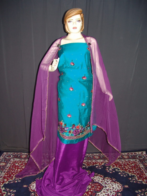 Partywear Cotton Hand Embroidered Punjabi Suit Dupatta set H0095 1