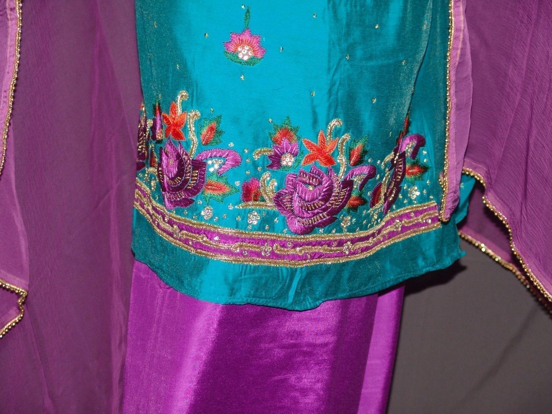 Partywear Cotton Hand Embroidered Punjabi Suit Dupatta set H0095 2