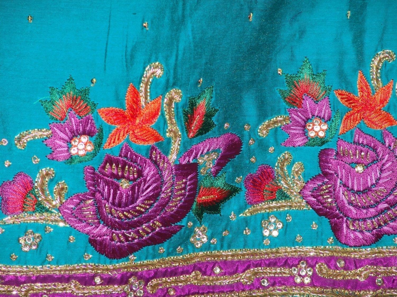 Partywear Cotton Hand Embroidered Punjabi Suit Dupatta set H0095 4