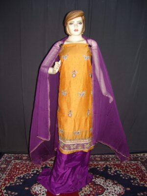 Partywear Cotton Hand Embroidered Punjabi Suit Dupatta set H0097