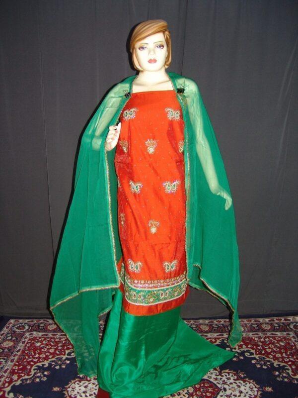 Partywear Cotton Hand Embroidered Punjabi Suit Dupatta set H0098