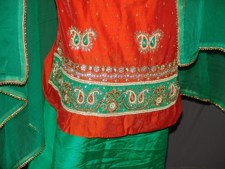 Partywear Cotton Hand Embroidered Punjabi Suit Dupatta set H0098 2