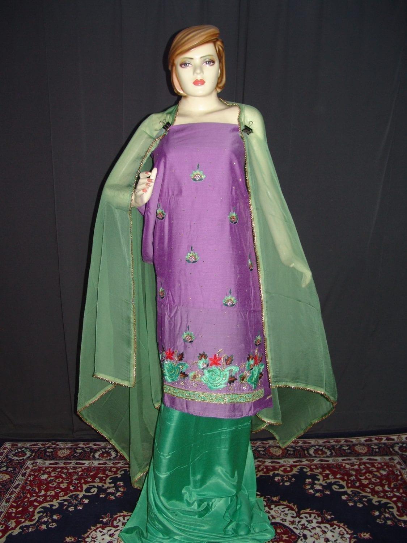 Partywear Cotton Hand Embroidered Punjabi Suit Dupatta set H0099 1