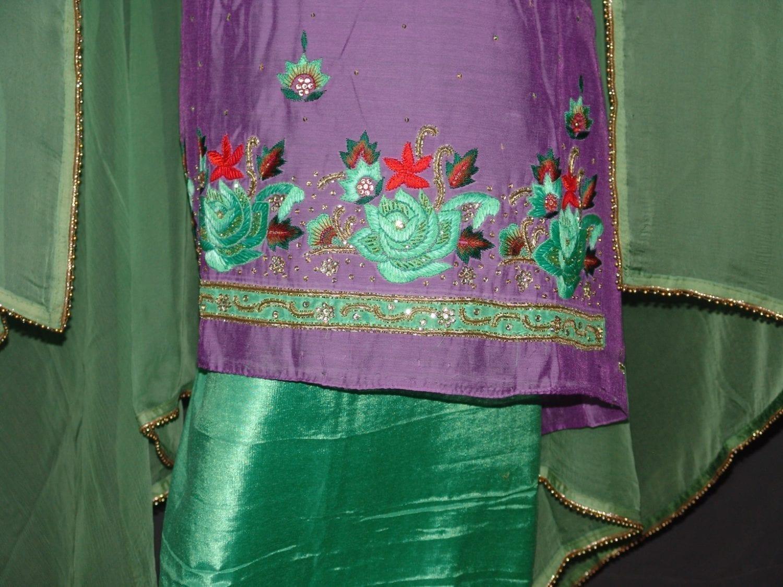Partywear Cotton Hand Embroidered Punjabi Suit Dupatta set H0099 2