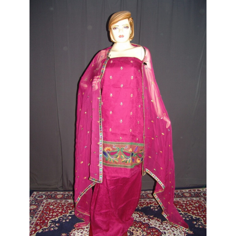 Cut Jaali work Self Print Cotton Hand Embroidered Suit H0101