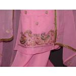 Senior Citizens Pure Linen Cotton Hand Embroidered Suit H0105