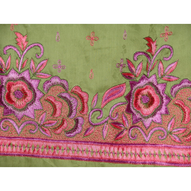 Hand Embroidered Self Printed Cotton Suit Half Pure Chunni H0110