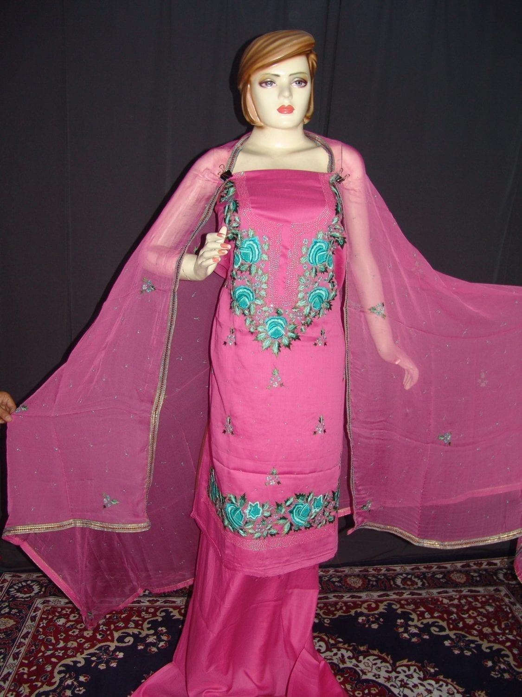 Hand Embroidered Fine Cotton Suit Half Pure Chunni H0112 1