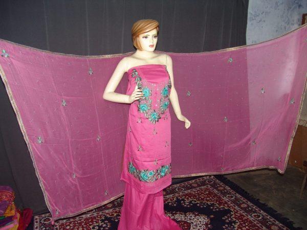 Hand Embroidered Fine Cotton Suit Half Pure Chunni H0112