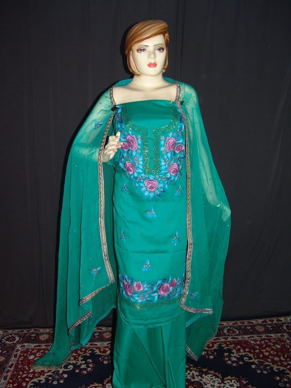 Hand Embroidered Fine Cotton Suit Half Pure Chunni H0113 1