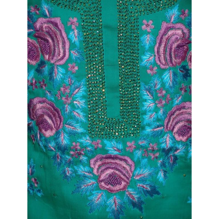 Hand Embroidered Fine Cotton Suit Half Pure Chunni H0113