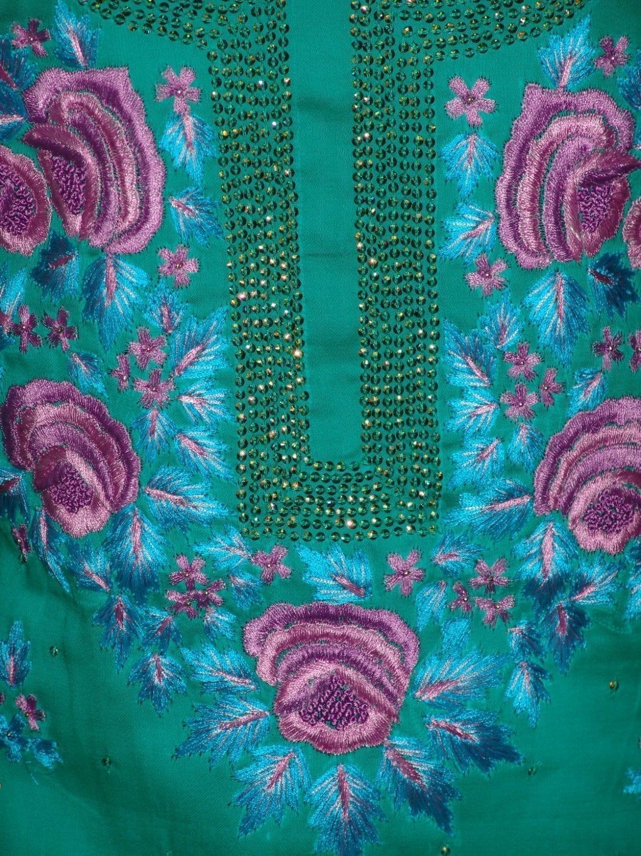Hand Embroidered Fine Cotton Suit Half Pure Chunni H0113 2