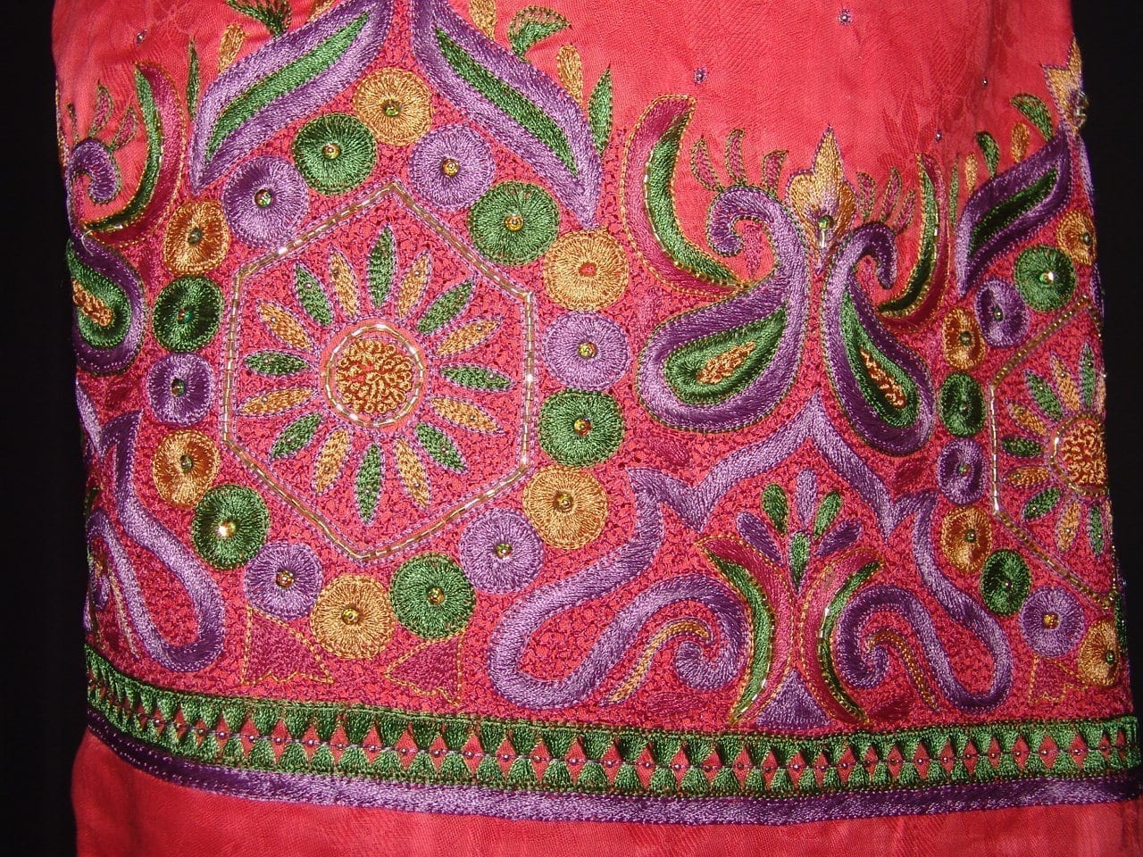 Self Print Cotton Party Wear Hand Embroidered Suit H0122 3