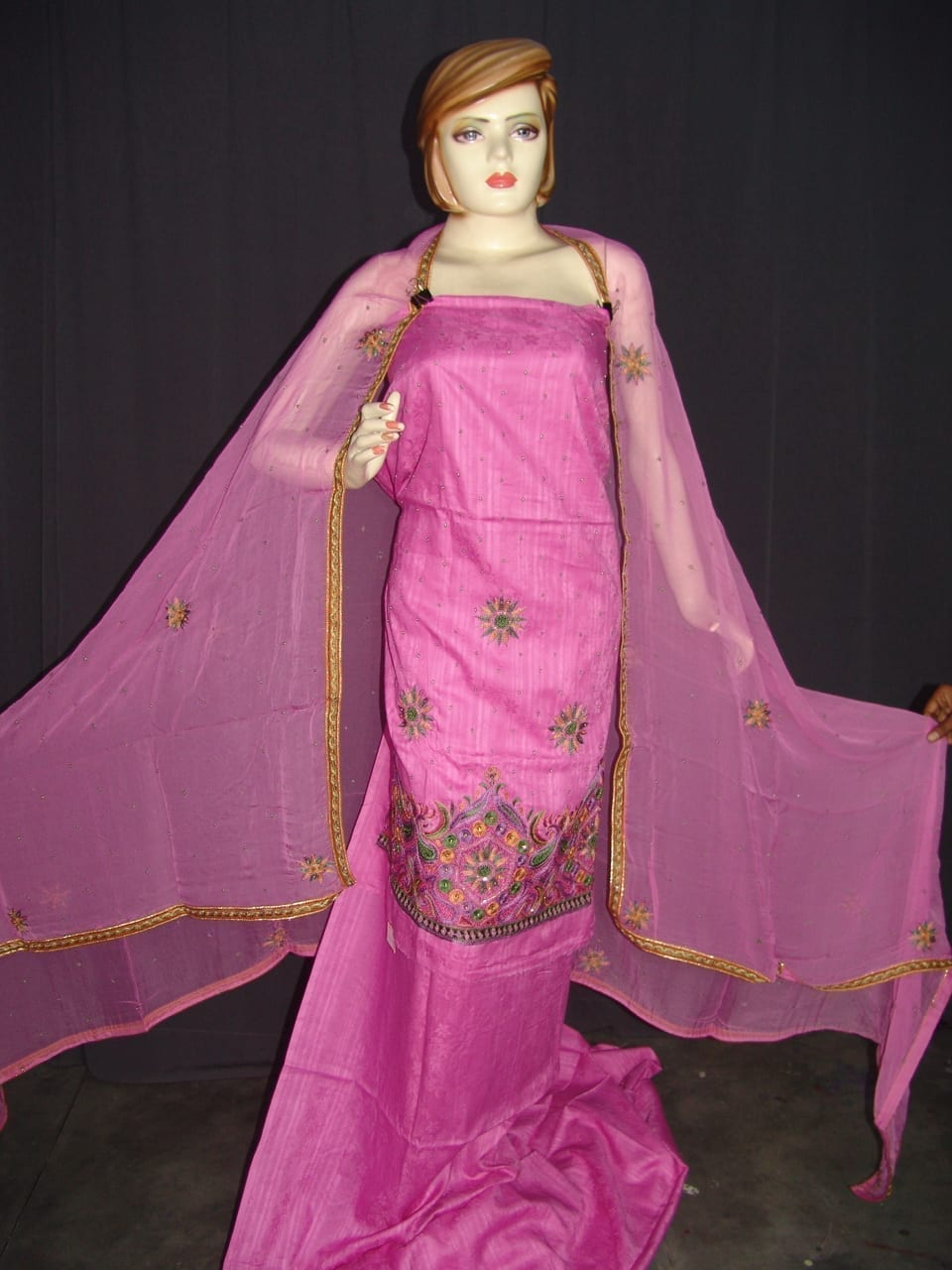 Self Print Cotton Party Wear Hand Embroidered Suit H0123 1
