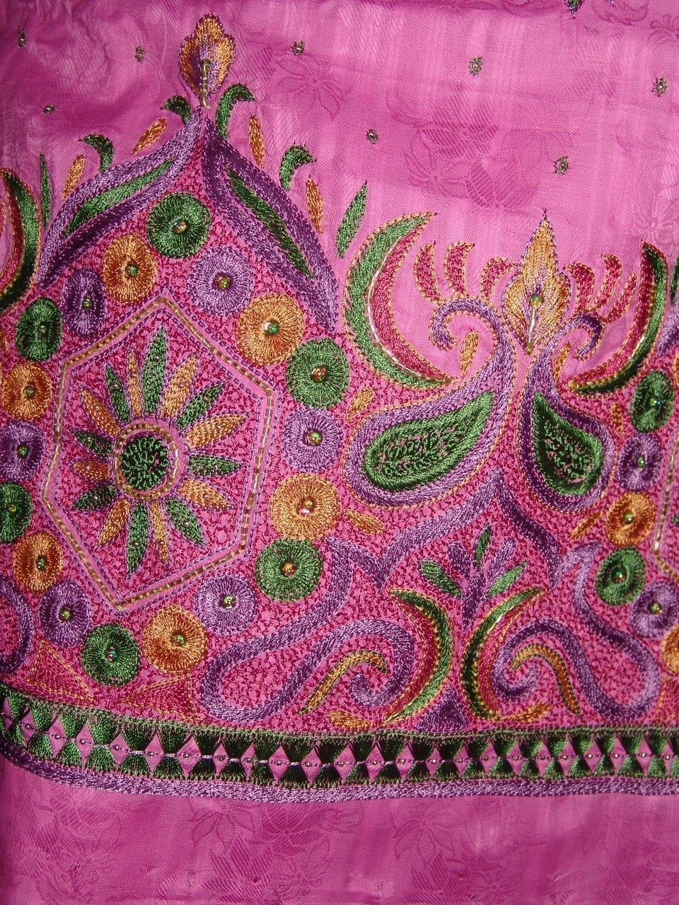 Self Print Cotton Party Wear Hand Embroidered Suit H0123 3