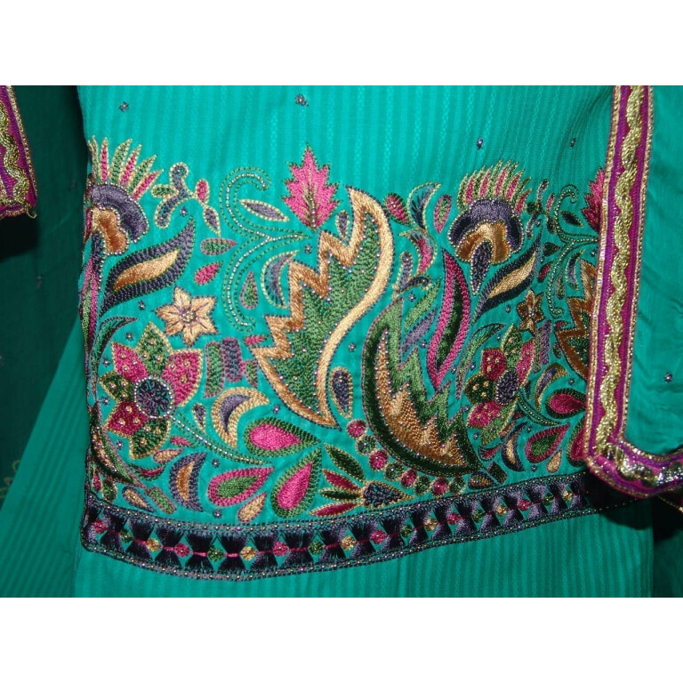 Self Print Cotton Party Wear Hand Embroidered Suit H0131