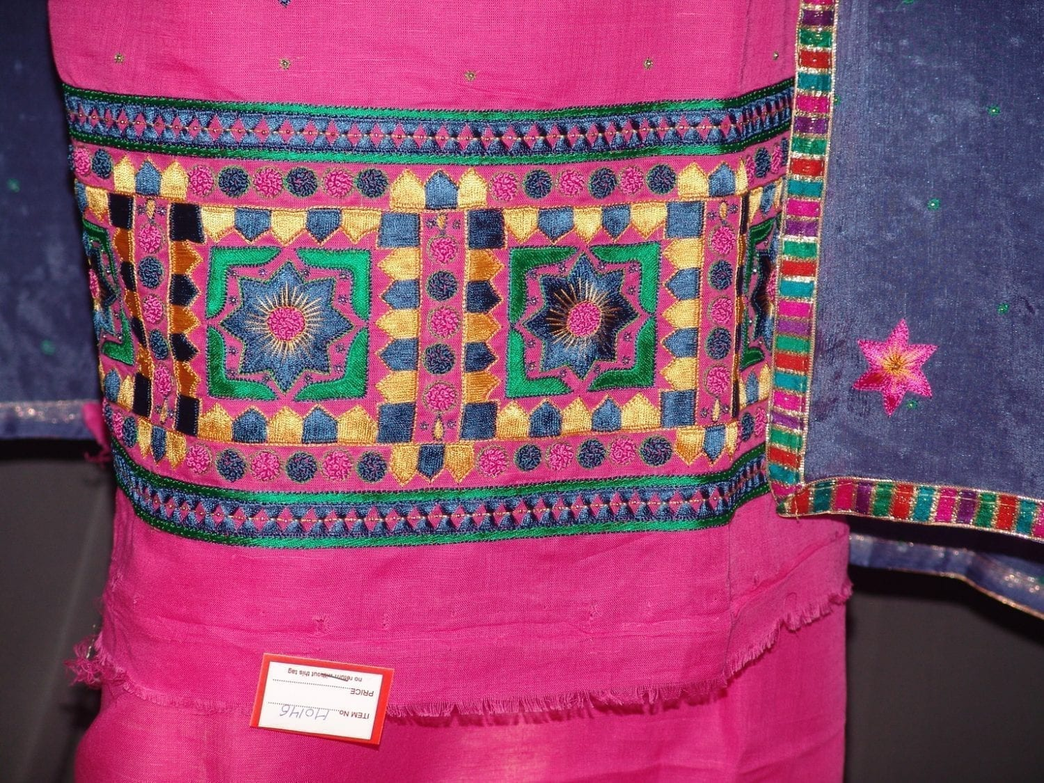 Pure LINEN Cotton Hand Embroidered Suit PURE CHINON Chunni H0146 2