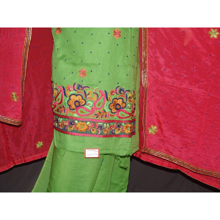 Pure LINEN Cotton Hand Embroidered Suit PURE CHINON Chunni H0148