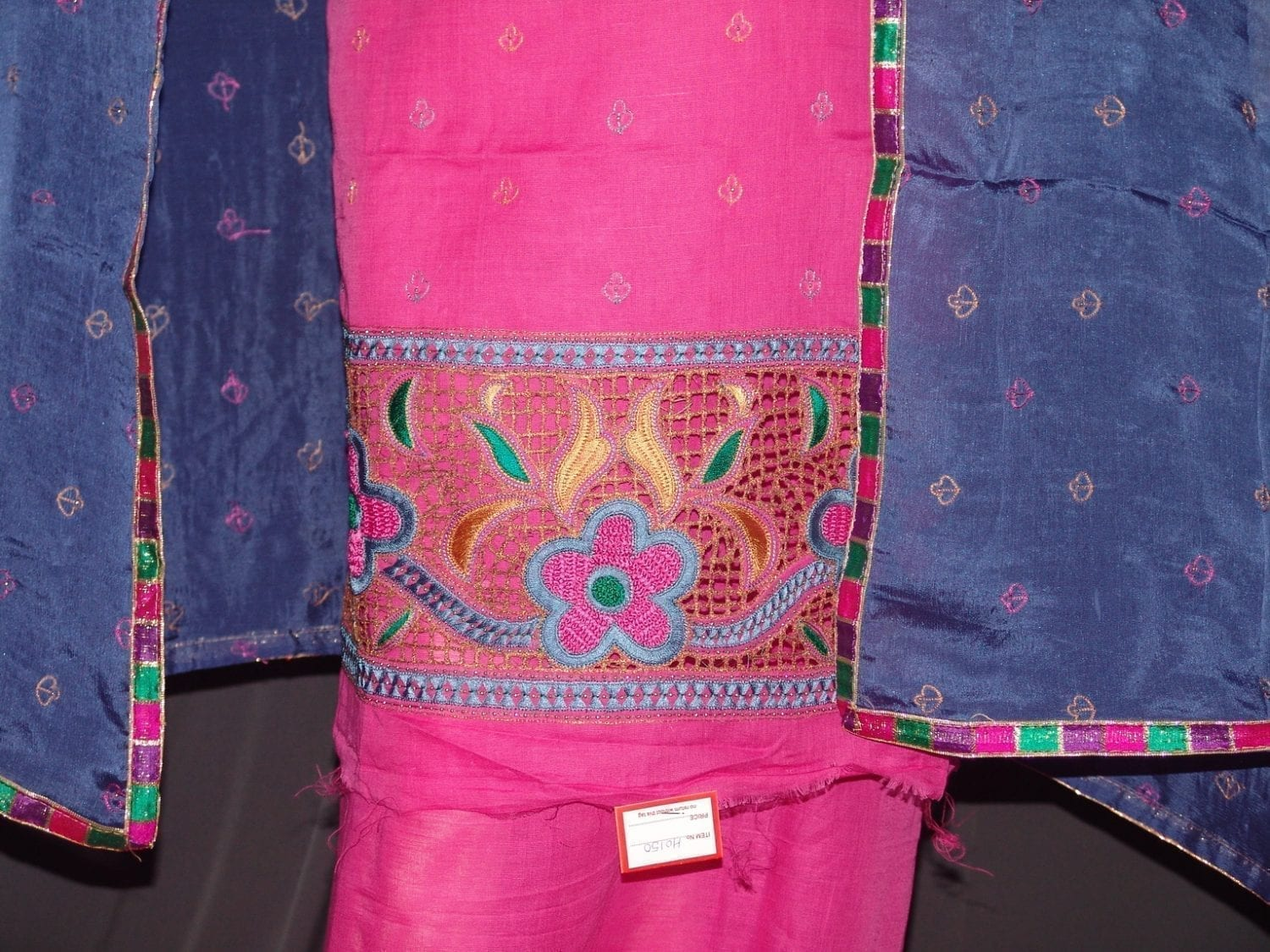 Pure LINEN Cotton Hand Embroidered Suit PURE CHINON Chunni H0150 2