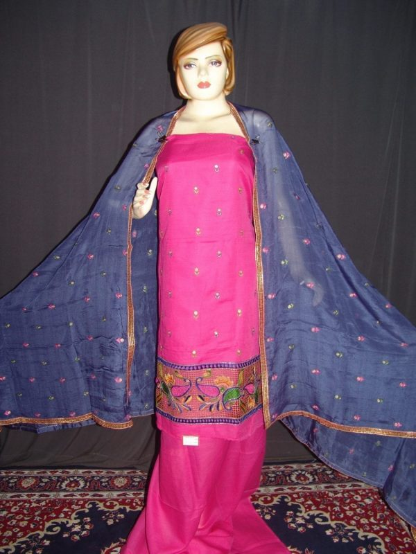 Pure LINEN Cotton Hand Embroidered Suit PURE CHINON Chunni H0153