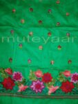Green Self Cotton Hand Embroidered Suit PURE CHINON Chunni H0161