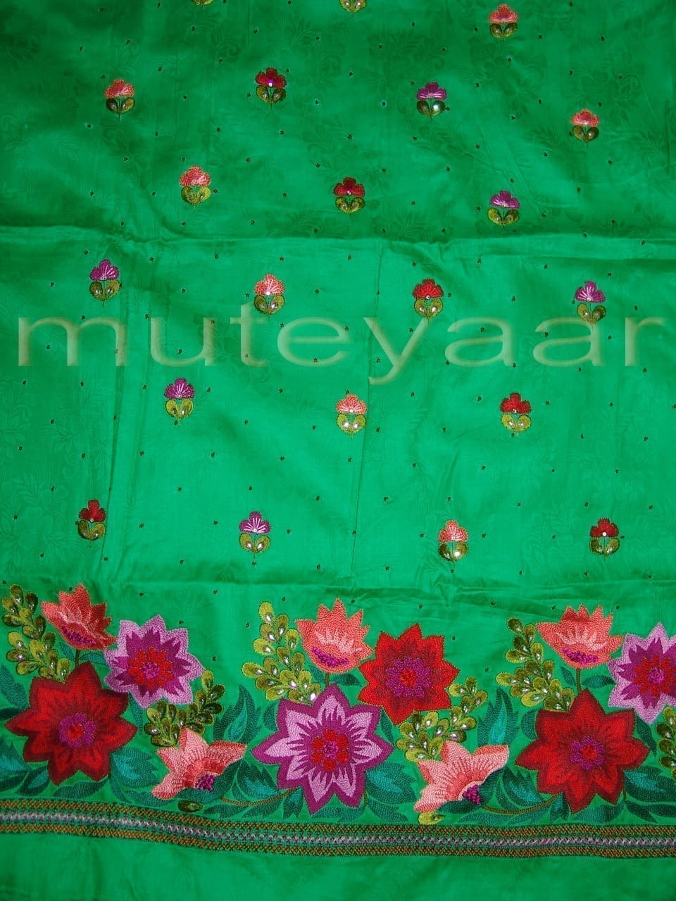 Green Self Cotton Hand Embroidered Suit PURE CHINON Chunni H0161 4