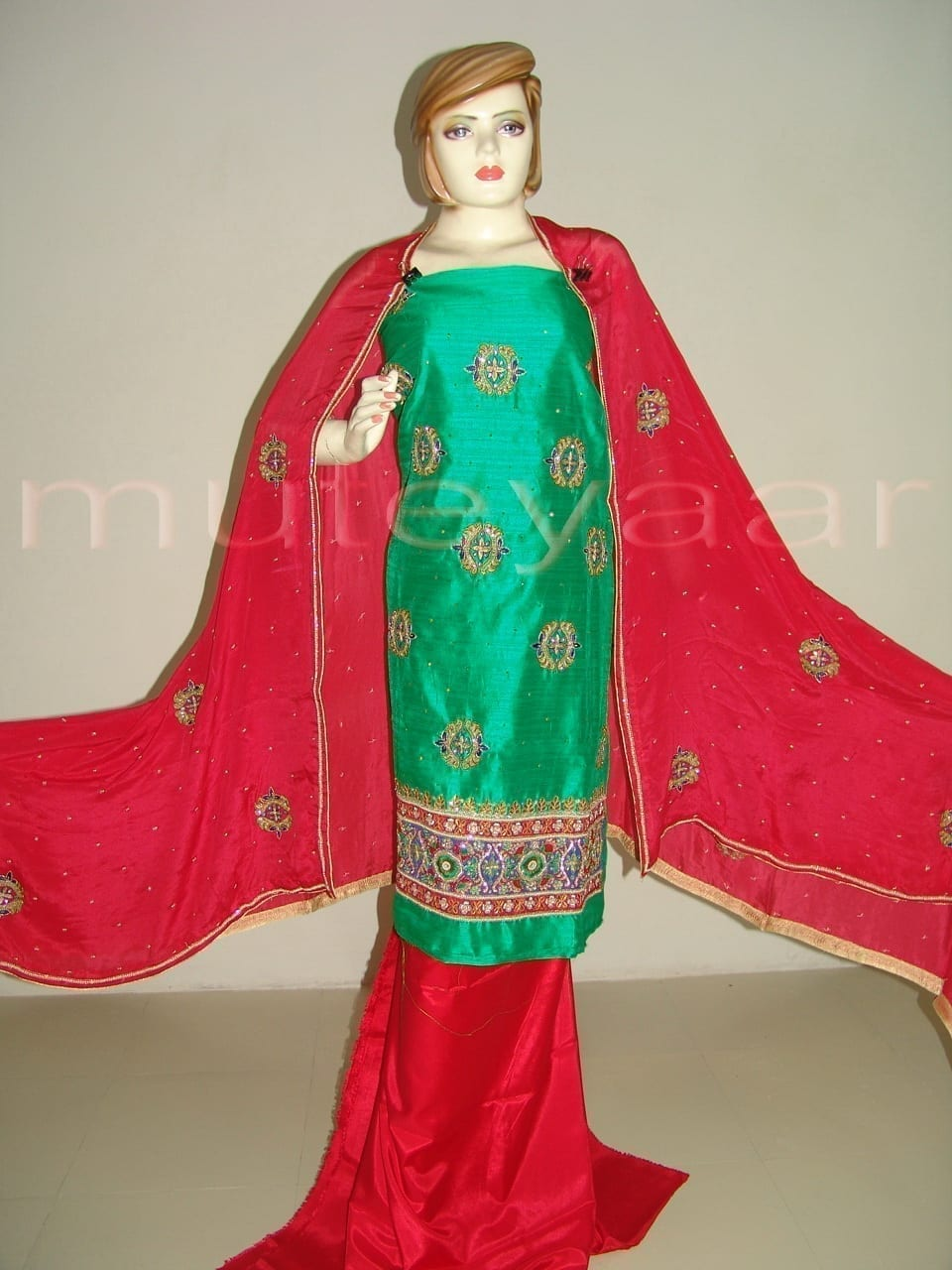 RAW SILK Hand Embroidered party wear Salwar Suit H0181 1