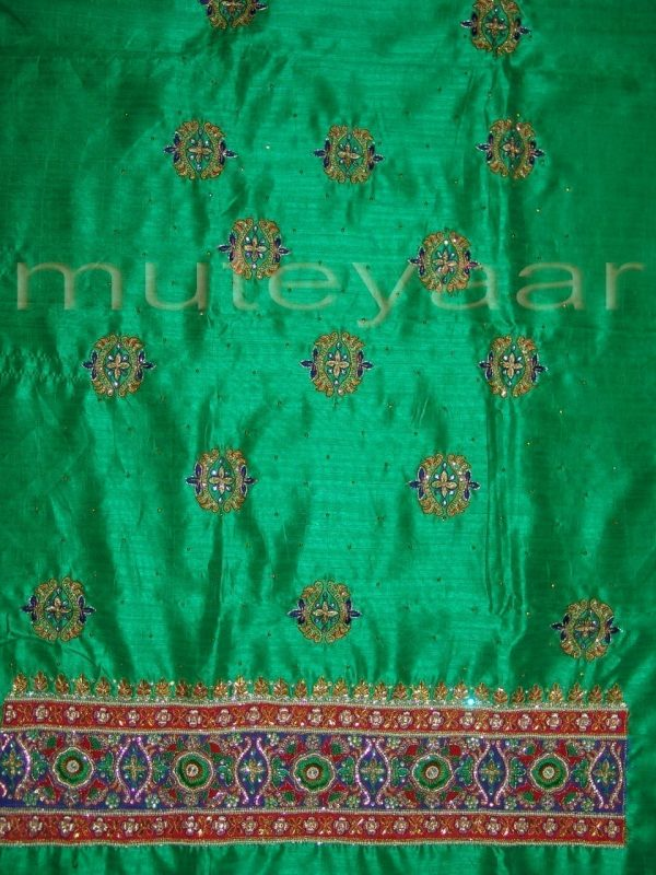 RAW SILK Hand Embroidered party wear Salwar Suit H0181