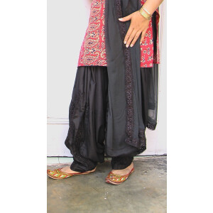 Custom Made Black Long Lace Work Patiala Salwar + Dupatta set