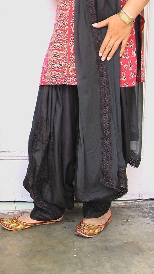 Custom Made Black Long Lace Work Patiala Salwar + Dupatta set