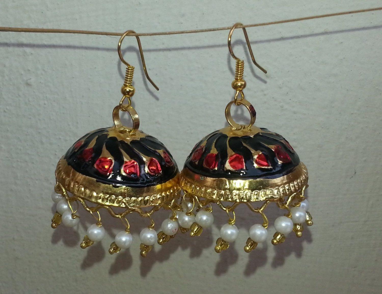 Gold Plated Meenakari work Lotan Dangles Jhumka set J0105 1