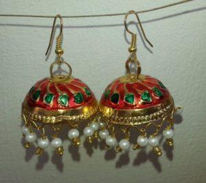 Gold Plated Meenakari work Lotan Dangles Jhumka set J0107