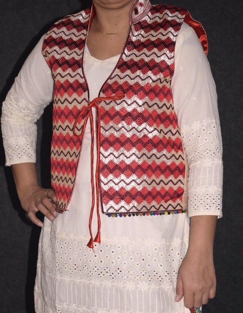 Phulkari Machine Embroidered Jacket Vest for women - Freesize JP003 3